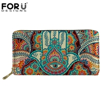 FORUDESIGNS Hamsa Fatima Hand Printed Long Woman Wallets Luxury Brand Wallet Designer Purse Clutch Money Coin Bags Card Holders