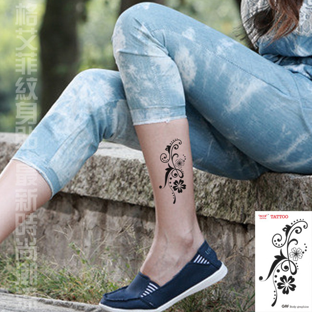 c961e2fcf Temporary tattoo stickers waterproof women men sexy products - flower vine  designs body art arm leg ankle tattoos
