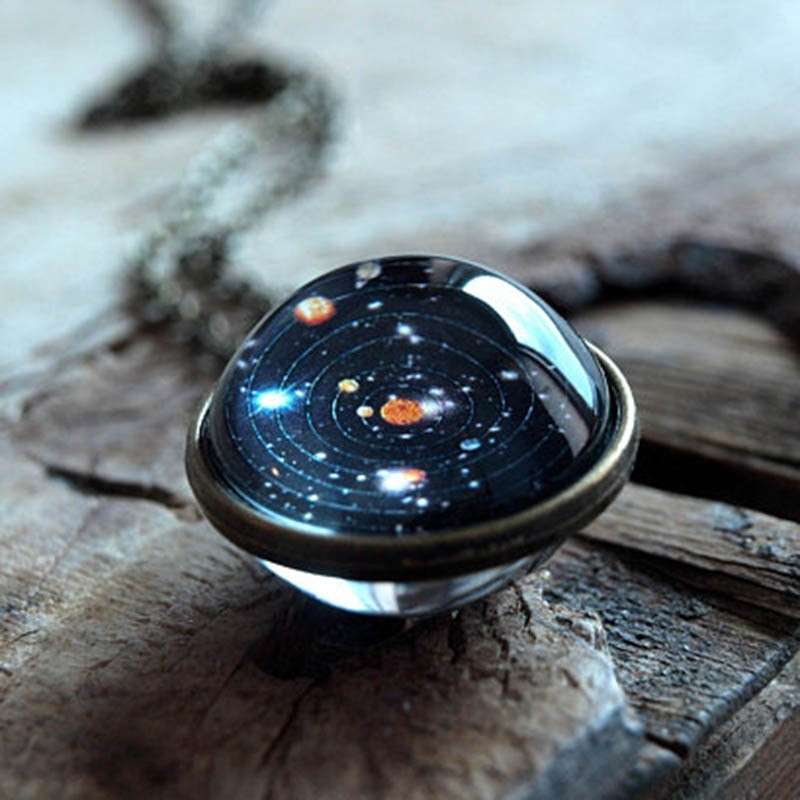 Ahmed Unisex Glow In The Dark Moon Necklace Galaxy Planet Glass Cabochon Pendant Necklace Vintage Luminous Jewelry Women Gifts