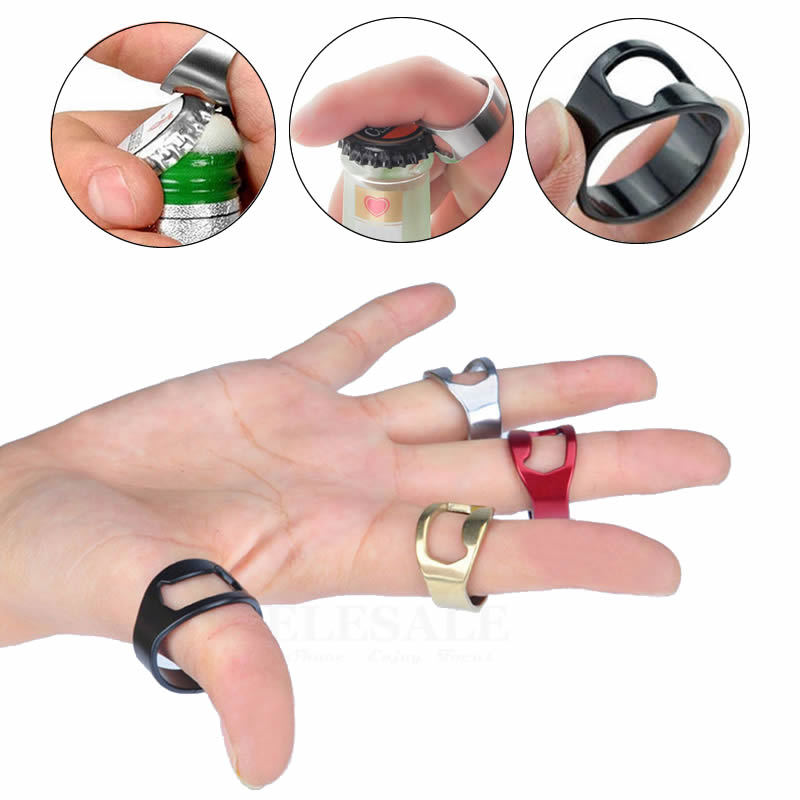 1pcs Portable Multi-Function Tactical Finger Ring Bottle Opener Stainless Steel Magic Ring For Outdoor EDC Tool Gift