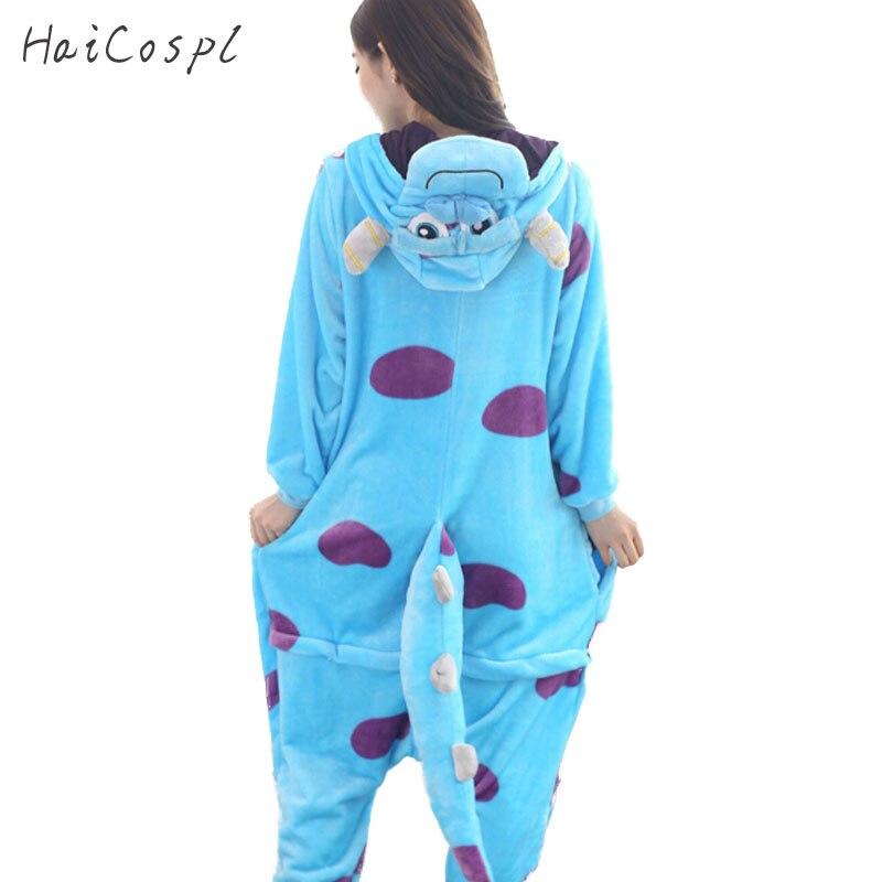 Monster sullivan pijama feminino animais onesie kigurumi anime cosplay traje adulto flanela mascote conjunto parte inverno quente pijamas