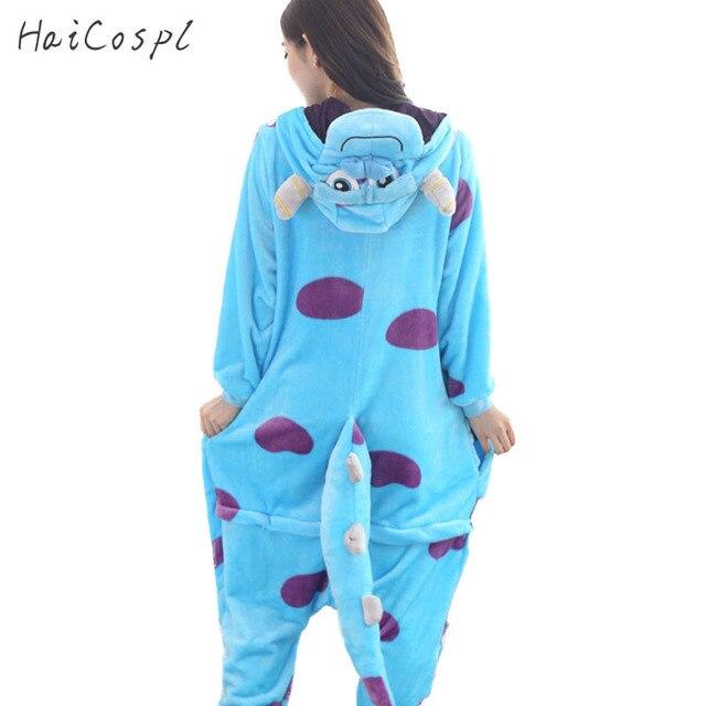 Monster Sullivan Pajama Women Animals Onesie Blue Cow Anime Cosplay Costume Adult Flannel Mascot Set Part Winter Warm  Sleepwear