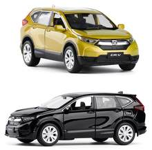 High simulation 1:32 scale pull back Honda CRV alloy car,6 open door music flash car model toys,metal diecast, free shipping(China)
