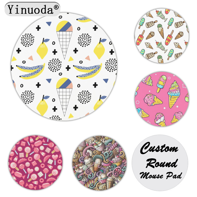Yinuoda Non Slip PC Cone Customized laptop Gaming mouse pad Size for 200x200x2mm and 220x220x2mm Round Mousemats