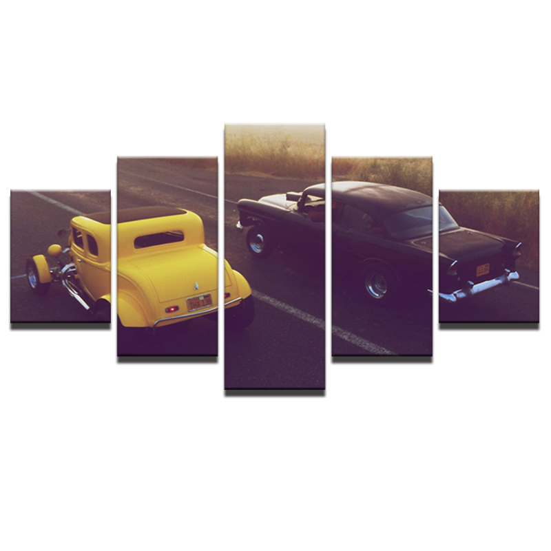Oil Canvas Painting Picture Wall Art Home Decoration 5 Panel Black And Yellow Car For Living Room Modern Printing Type