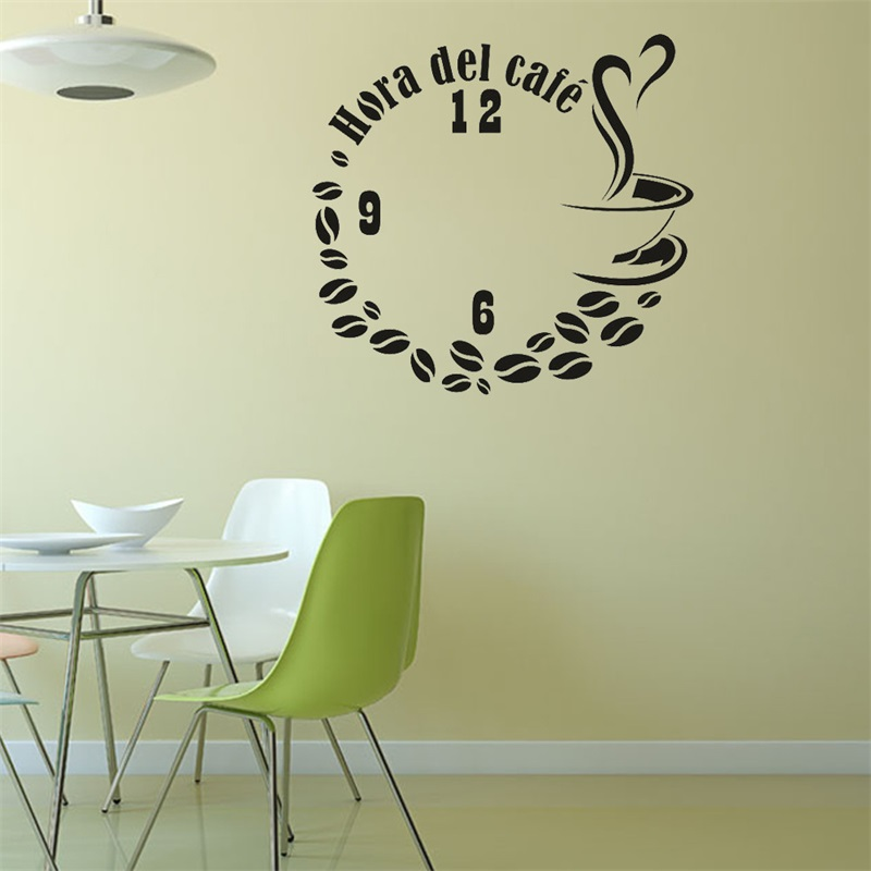 DIY Fake Clock Coffee Wall Sticker Art Decal Sticker , vinyl coffee wall stickers for coffee shop office decor Wallpaper Posters