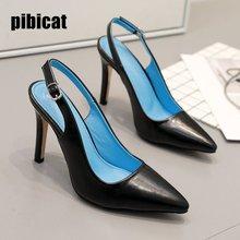 pointed sandals high heels women's shoes 2019 summer office shoes women black Dress Stilettos heels closed toe sandals blue heel цена 2017