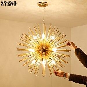 Image 3 - שן הארי קיפוד נברשת תאורת אלומיניום צינור ניצוץ כדור Creative מנורת זהב אמריקאי פוסט מודרני מסעדת