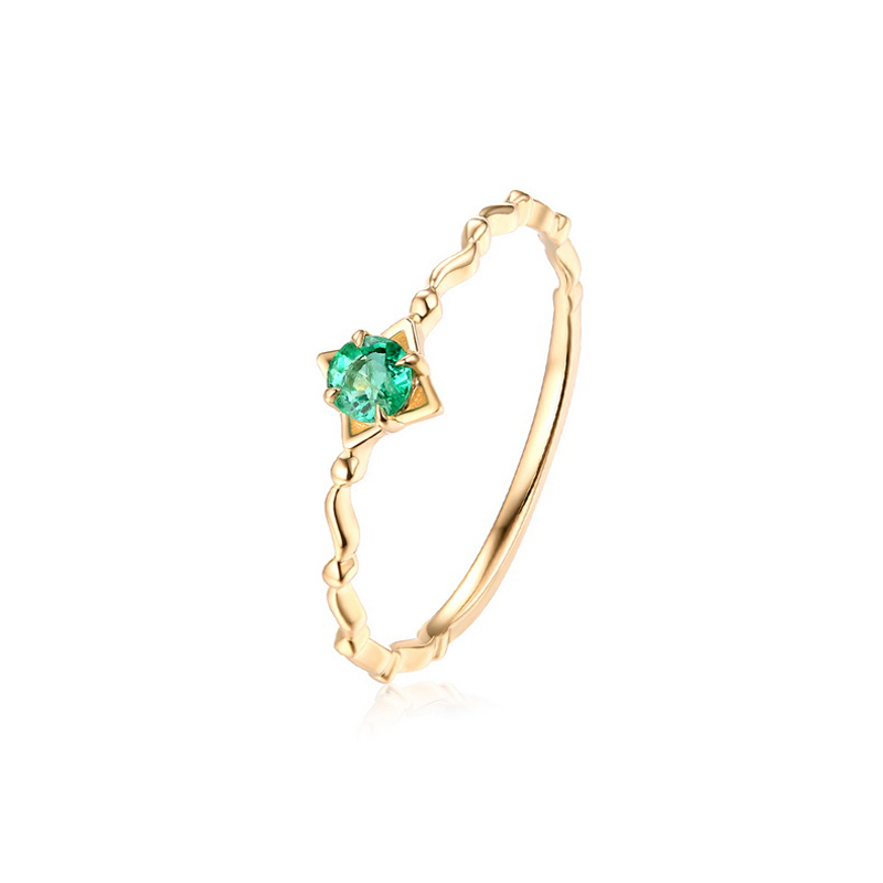 JXXGS Simple Gold Color Natural Emerald Luxury Square Ring 14k Gold Unique Designs Ring For Party