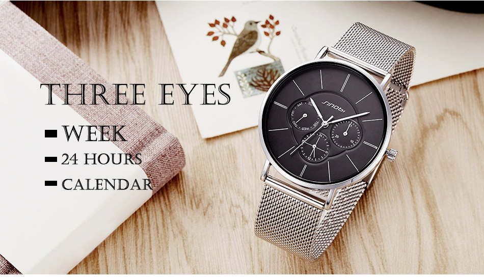 Relógio feminino de luxo sinobi malha pulseira