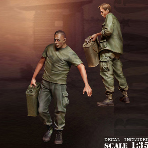 Assembly  Unpainted  Scale 1/35  Vietnam Auto Soliders Figure Historical  Resin Model