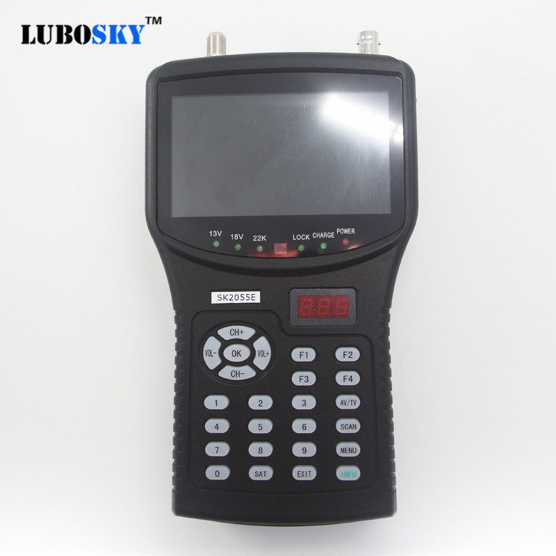 New sat finder hd test cctv camera lcd backlight button 4.3 inch DVB S/S2 signal test with av usb SK2055E mpeg4