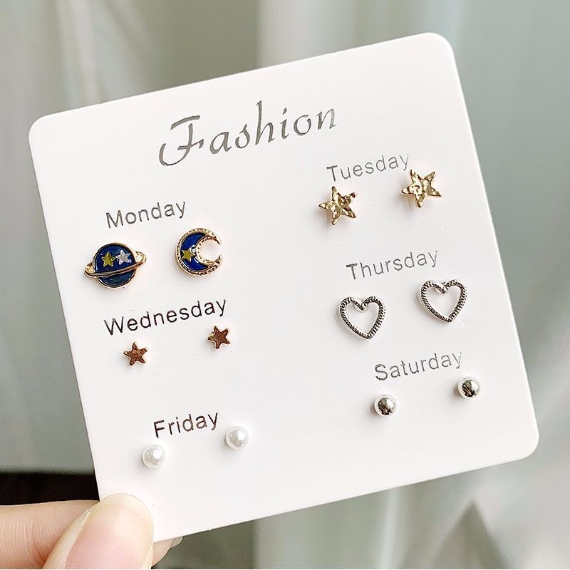 Fashion Girls Silver Crystal  Rhinestone Pearl Female  Ear Stud  6 Pair New Jewelry  Elegant Heart Earrings Set