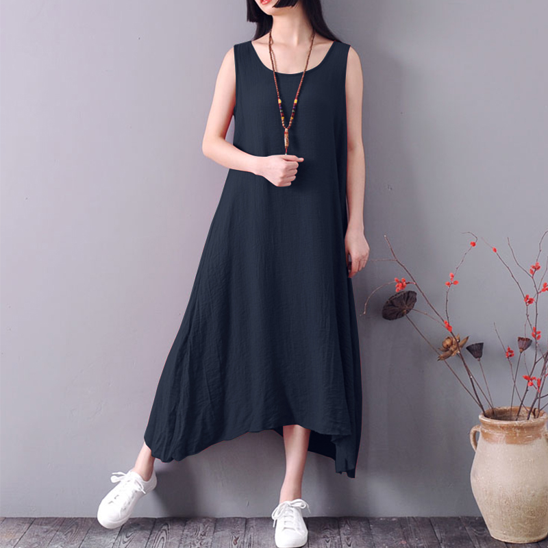 S 5XL ZANZEA Women Solid Cotton Linen Vest Tank Dress 2018 Summer Casual O Neck Sleeveless Loose Irregular Work OL Long Vestido