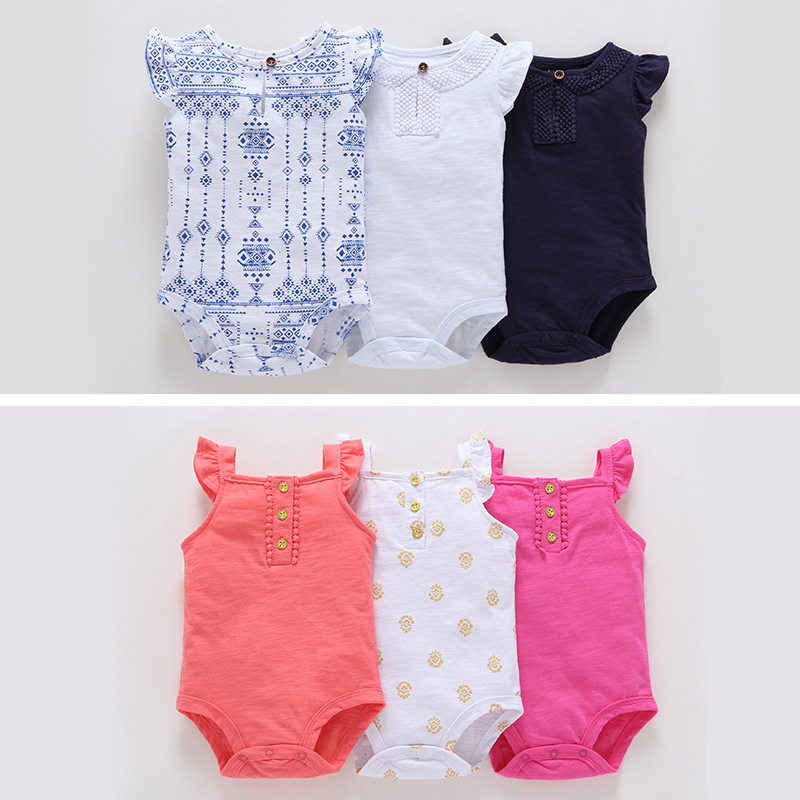 2018 Summer Outfits Set / 3 Pcs Set / Bodysuit With Ruffle / Bodysuit Set With Button