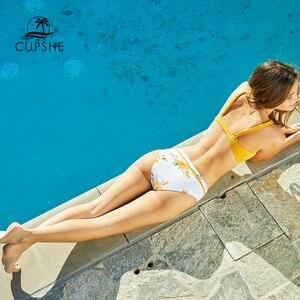 Image 5 - CUPSHE jaune imprimé fleuri Bikini ensembles femmes croix Triangle deux pièces maillots de bain 2020 fille Sexy maillots de bain maillots de bain