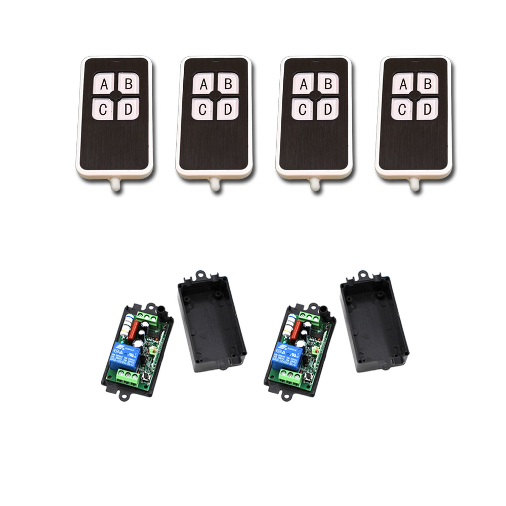 4pcs Transmitter +2 Receiver RF Wireless Remote Control Relay Switch Security System Garage Doors & Rolling Gate Electric Doors 85v 250v 4ch rf wireless remote control relay switch security system garage doors receiver mahogany color transmitter