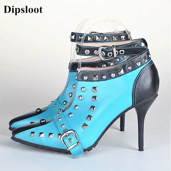 Dipsloot 2018 New Cool Rivets Decorated High Heels Princess Dress Shoes Woman Sexy Pointed Toe Pumps Female Buckle Strap Shoes