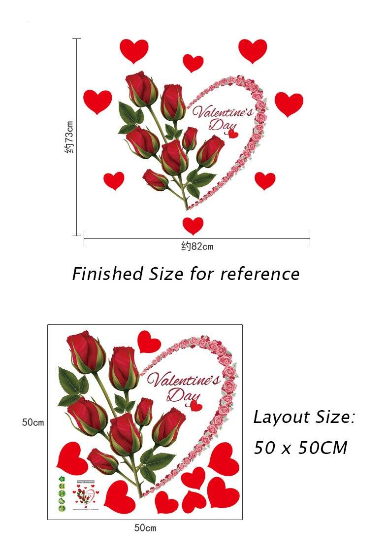 Rote Rose Liebe Herz Wandaufkleber Romantische Valentinsgre Tag