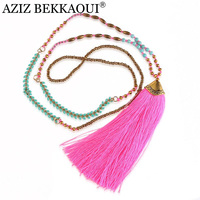 Pendant Necklaces Boho Bohemian Choker Colar Statement Long Tassel Necklaces Sweater Chain Vintage Women Jewelry Bijoux