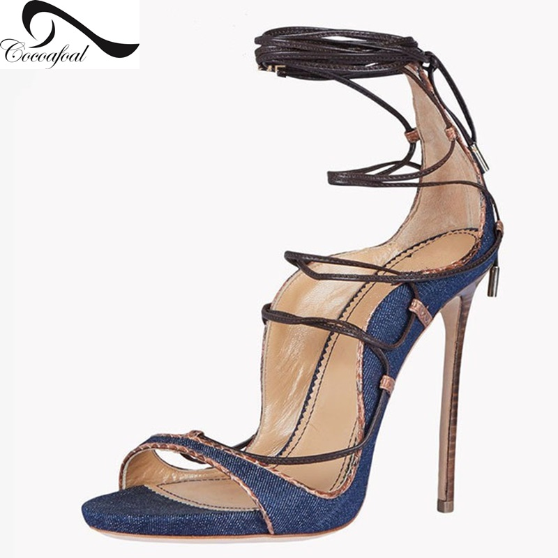 ФОТО shoes woman party 2017 Newest Euramerican style Major suit heels sandals Shallow mouth women Denim Stiletto heels Super size