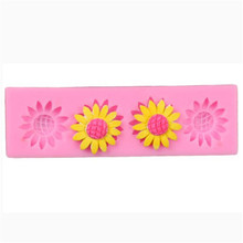 цена на Sunflower Silicone Cake Mold 3D Flower Fondant Mold Cupcake Jelly Candy Chocolate Decoration Baking Tool Moulds