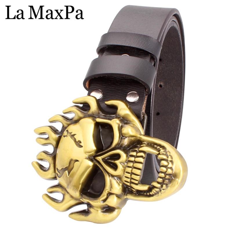 Fashion men punk belt flame Skull belt Heavy metal rock style belt Blazing skull head buckle cowskin leather waistband male gift