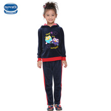 2016 fashion designs nova kids clothing sets navy with cute cartoon bird  winter/autumn girl clothing sets top clothing set
