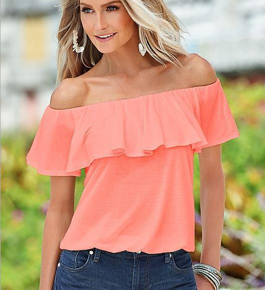QA192 Elegant slash neck off shoulder solid tops women blouse ruffles wild streetwear shirts