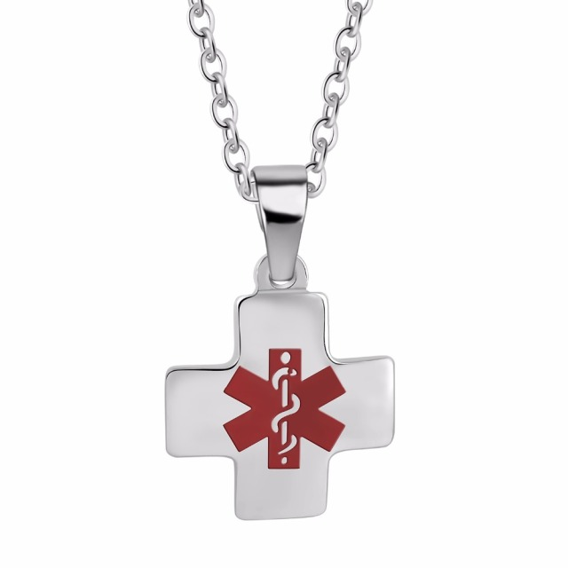 Free engraving unisex stainless steel cross diabetic medical alert free engraving unisex stainless steel cross diabetic medical alert id necklace personalized dog tags pendant jewelry mozeypictures