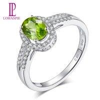 LP классическое кольцо 100% натуральный Овальный Зеленый Перидот Алмаз Настоящее кольцо из белого золота 14 к ювелирные украшения для девушек