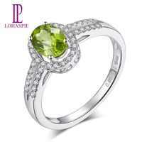LP Classic Ring 100% Natural Oval Green Peridot Diamond Real 14k White Gold Ring Fine Jewelry For Girl's Women's party