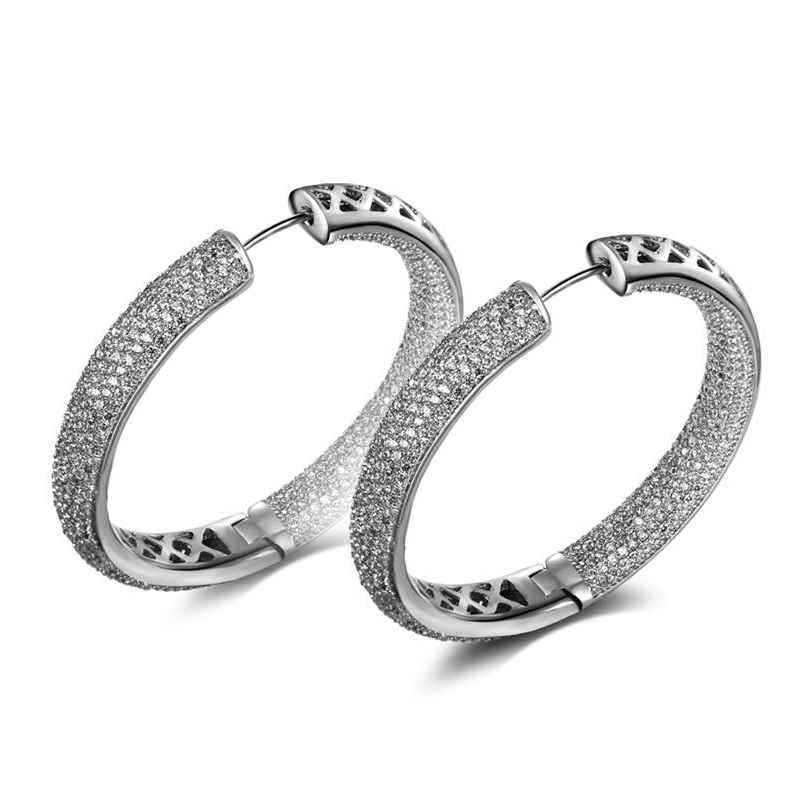 XIUMEIYIZU Classic Rhodium Plated Copper Circle Earring Cubic Zirconia Inside-Out Pave Set Princess Medium Round Hoop Earrings