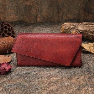 Женский кошелек ручной работы, из натуральной кожи, с отделением для карт, в три сложения, в ретро стиле, 2019