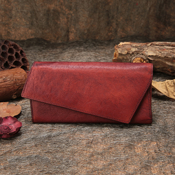 Genuine Leather Women's Wallets Multiple Credit Card Holder 2019 Handmade Three Fold Wallet Retro Cell Phone Pocket Lady Purse