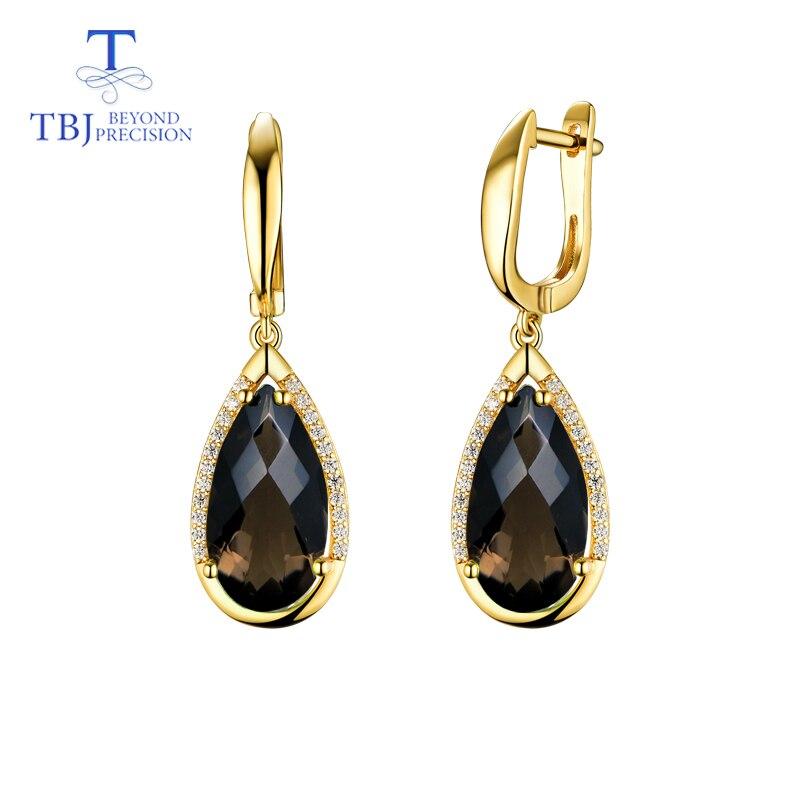 TBJ smoky Earring natural pear 8 16mm gemstone checkerboard cut 925 Sterling Silver Fine Jewelry women