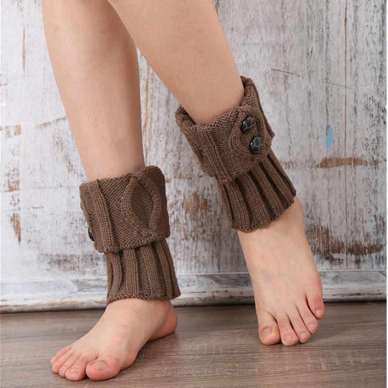 9 colores mujeres pierna calentador corto de arranque Botones crochet Boot Calcetines punto polainas Calentadores para piernas para el otoñoinvierno