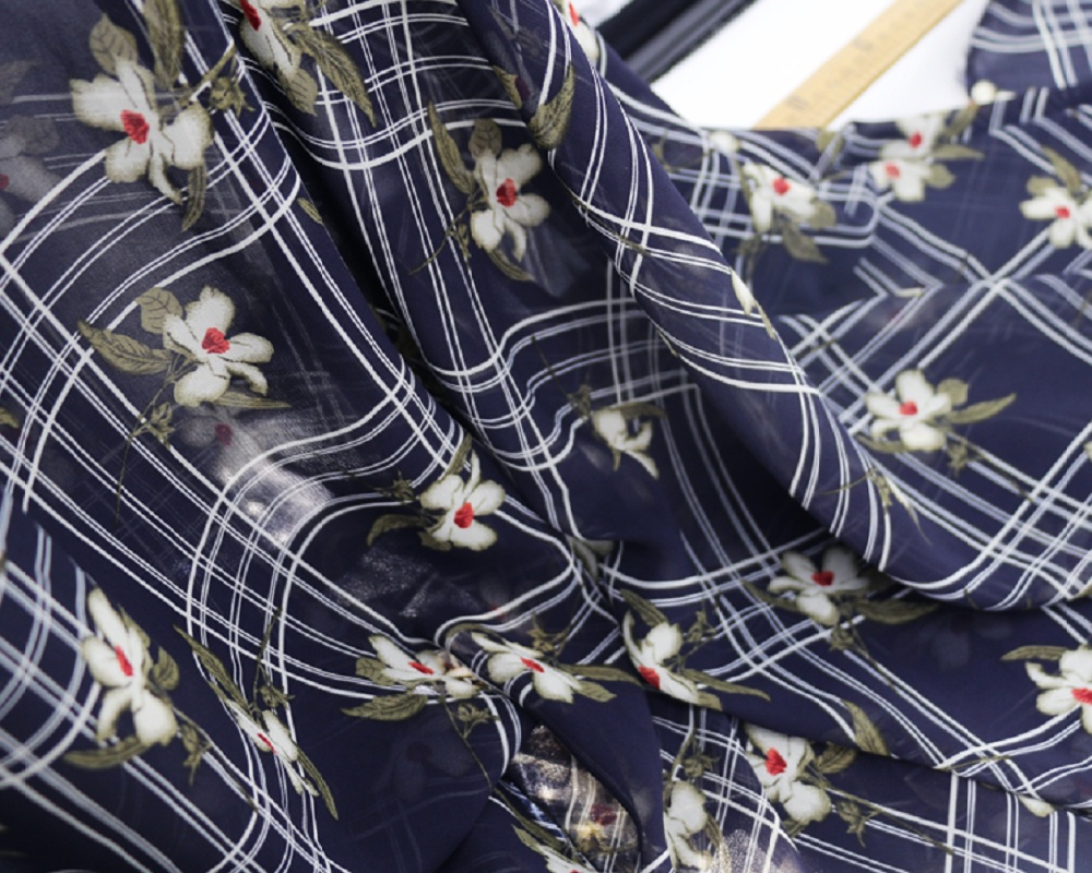 Fashion Plaid Floral Patchwork Chiffon Fabric Grace Style Pearl