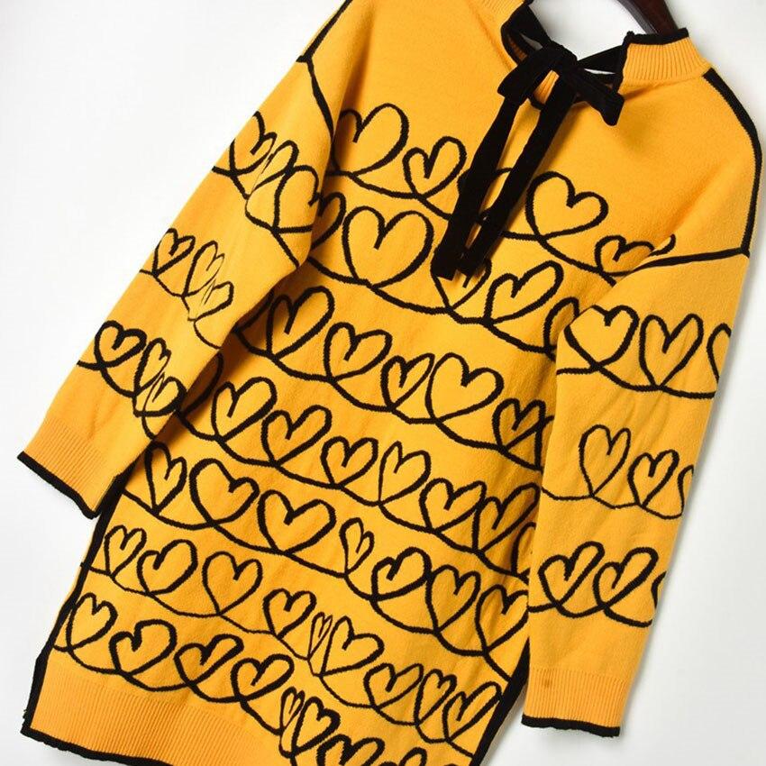 Chandail Yellow Femmes Manches Jumper Automne 2018 Designer Hiver Tricoté Longues Piste Femme Coeur Pull Surdimensionné Amour Chandails qfa5Swnnx