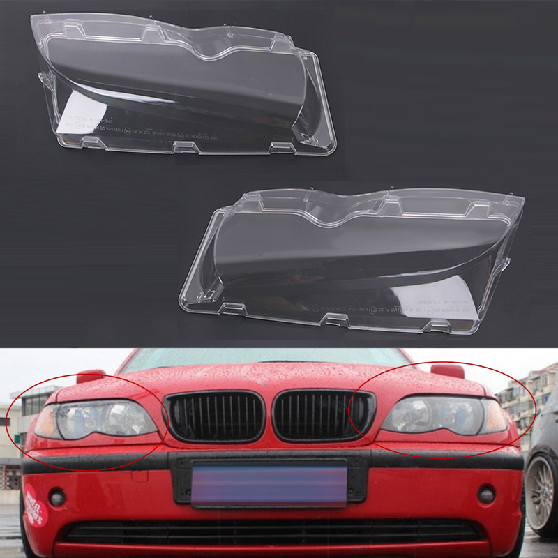 Mayitr 1pair 4Door Automobile Headlamp Glass Cover Clear Left Right Headlight Lens Shell For BMW E46