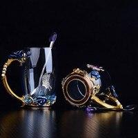 Голубая роза Эмаль Кристалл чашка цветок чай стекло Высококачественная стеклянная кружка для воды цветок кружка с ручкой идеальный подаро...