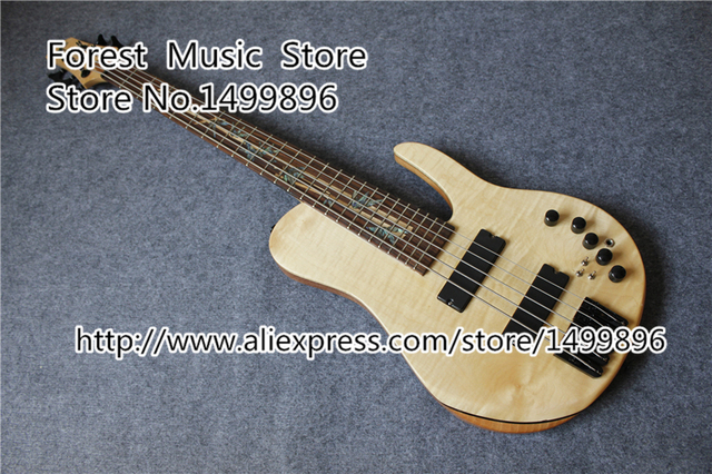 Cheap Custom Shop 5 String Electric Bass Guitar Neck Though & Custom Inlay And Logo Free Shipping