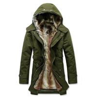 Winter Overcoat Men Long Thick Velvet Warm Trench Coat Chaqueta Hombre Men 'S Cotton Windbreaker Coat Army Outwear Hooded Jacket