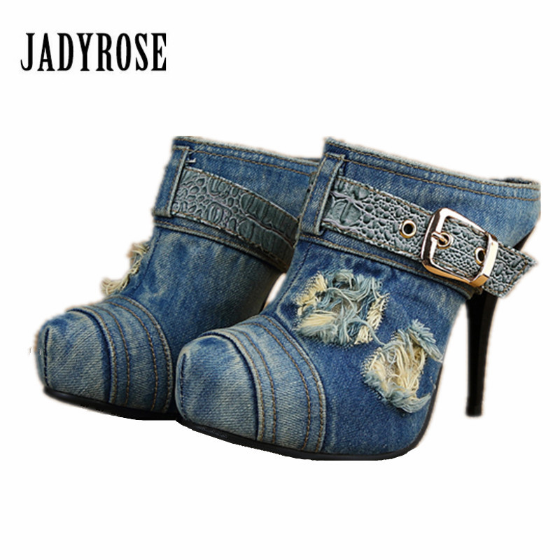 Jady Rose Women Pumps Summer Denim Gladiator Sandals Thin High Heels Retro Women Platform Pumps Feamle Casual Slippers Stiletto denim zipper hollow worn stiletto womens sandals