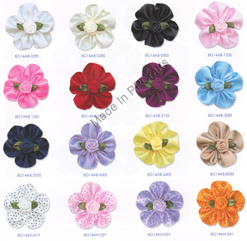 35MM Satin Double /Dots/Organza Ribbon Petaled Bow With Rose For Packing Cloth Hairbow DIY Crafts 200pcs Free Shipping