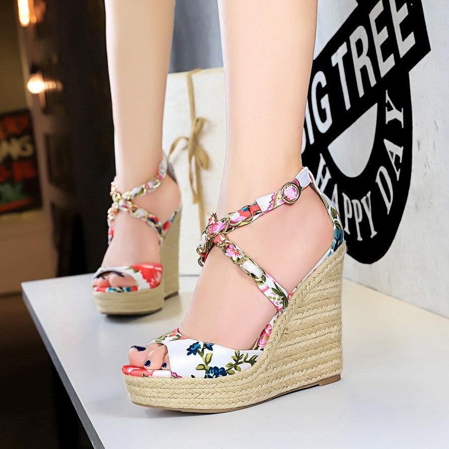Shoes Sandals Weaving-Wedge-Pumps-Shoes Platform Peep-Toe Floral High-Heel Party Women
