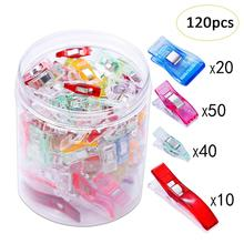 120pcs Colorful Sewing Craft Quilt Binding Plastic Clips Clamps Pack For Patchwork Sewing DIY Crafts Mixed Plastic Wonder Clips цена в Москве и Питере