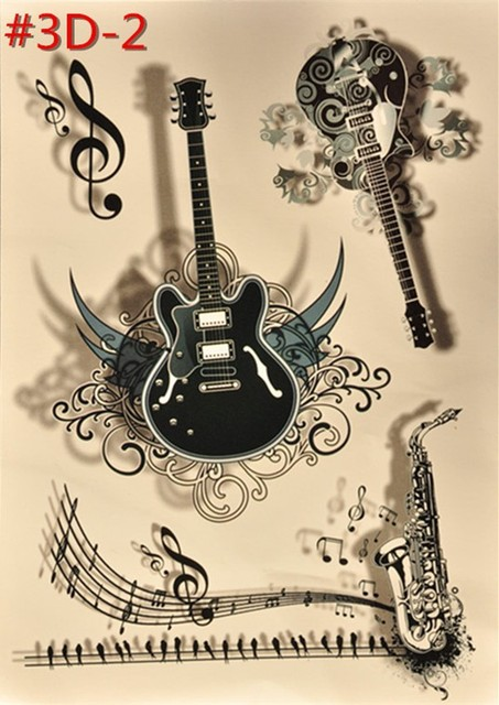 Or Temporaire Tatouage Autocollant Taille Main Guitare Instrument