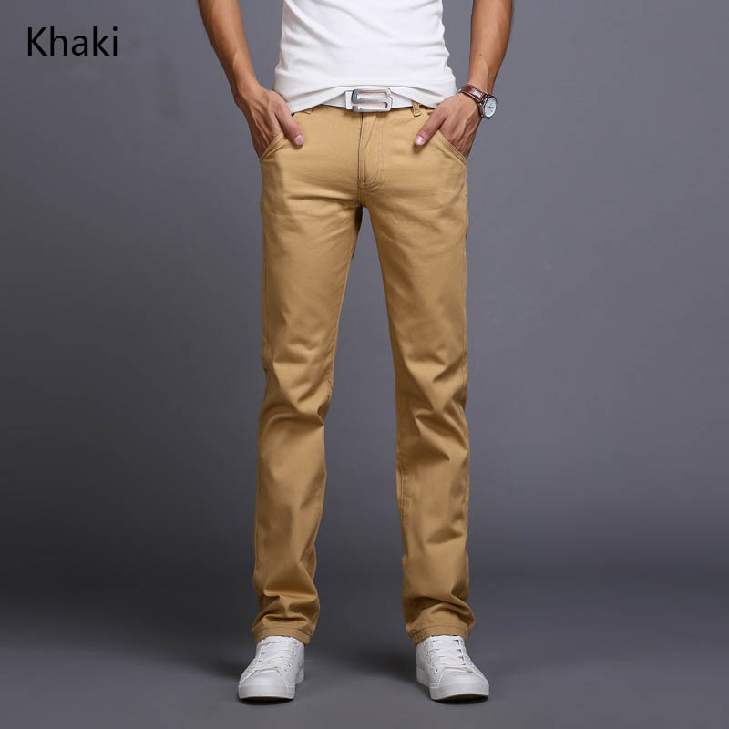2019 New Design Casual Men Pants Cotton Slim Pant Straight Trousers Fashion Business Solid Khaki Black   jeans   Men Plus Size 38