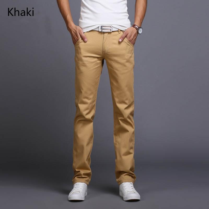 6905a36c0d78 2019 nuevo diseño pantalones casuales para hombres de algodón Slim Pantalón  Pantalones rectos de negocios de moda sólido color caqui negro jeans ...